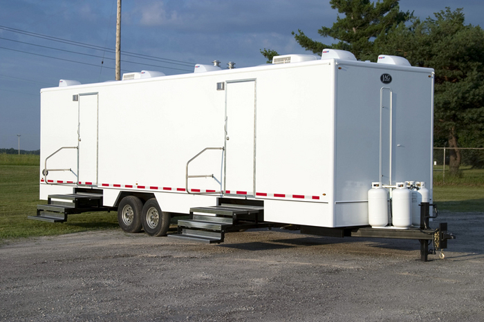 Rent a john equipment sinks hand sanitizers other for Portable bathroom trailers